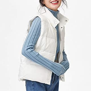 Womens Down Vest Warm Sleeveless Snap Lightweight Casual Jackets Outerwear, Stand Collar Gilet with Pockets, Three Colors Optional. (Color : White, Size : S)