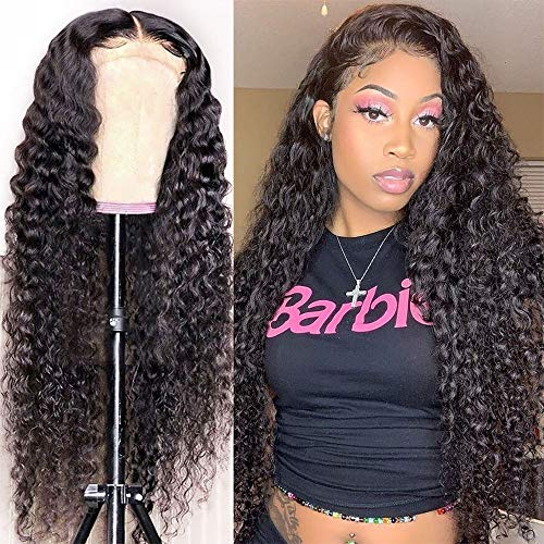 13x4 Curly Lace-Front-Wigs-Human-Hair for Black-Women HD-Frontal-Lace-Wigs Human-Hair-Pre-plucked - with Baby Hair 150 Density Glueless 10A Unprocessed Virgin Deep Curly Human Hair Wigs 28 Inch