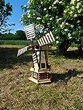 Robuste Holz-Windmühle, für Pferde-Weide und Garten 100 cm, SCHWARZ zweistöckig MIT 2 BALKONEN, garten windmühlen, ohne / mit Solar, WMH100at-OS 1m groß, Holz, Natur lackiert mit...
