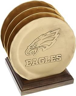 Philadelphia Eagles 4-Piece Coaster Set with Caddy, Bronze Coaster Set