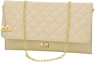 ANGLOPANGLO Ashley Cream Color Front flap Imported Genuine leatherette Sling cum Clutch for Girls and Women