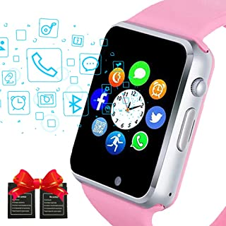 Janker Smart Watch, Bluetooth Smartwatch Android iOS Phone Compatible Unlocked Watch Phone with SIM Card Slot Camera Pedometer Touch Screen Music Player Wrist Watch for Men Women Kids (Girl Pink)