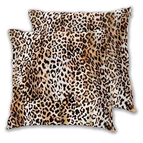 Set of 2 Leopard Throw Pillow Covers 18x18 Inches Cotton Cheetah Print Pillowcase Double Sided Printed Animal Decorative Pillows Cover for Office Bed Couch Living Room Outdoor(Not Really Animal Hair)
