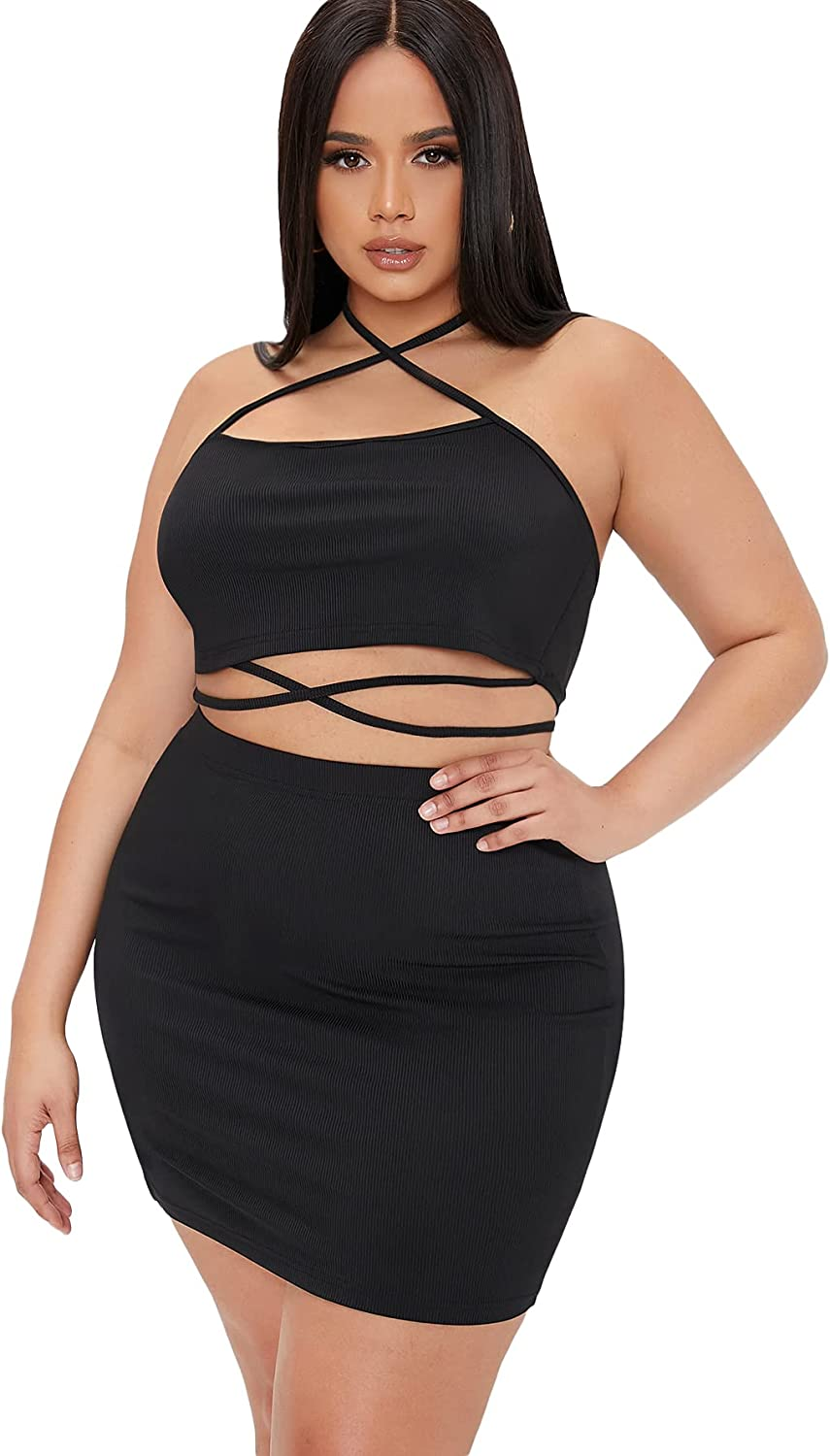 Romwe Women's Plus Size Criss Cross Halter Crop Tops and Mini Bodycon Skirts Set 2 Piece Outfit