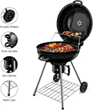 BEAU JARDIN 22.5 Inch Charcoal Grill with Large Cooking Grate Heavy Duty Charcoal BBQ Grill Outdoor Cooking Round Charcoal Barbecue Grills Kettle Portable Camping Standing Grill with Warming Grate