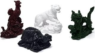 Four Celestial Animals Dragon Phoenix Turtle Tiger Statue + Free Red String Bracelet SKU:D1010-1