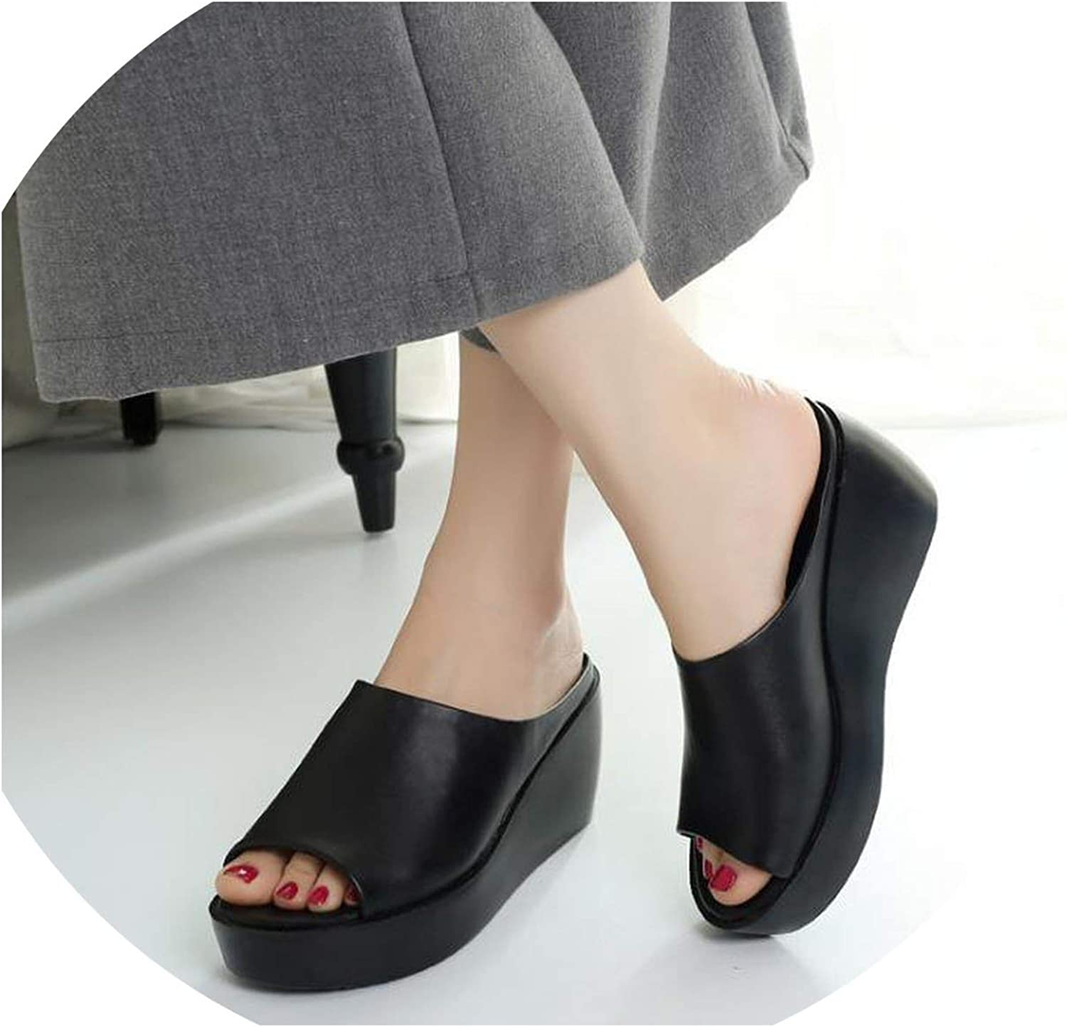 Cool Sandals and Slippers Leisure Leather high-Heeled Waterproof Muffins and shoes