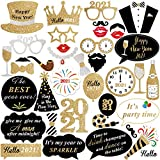 New Years Photo Booth Props 2021 – Pack Of 36 | New Years Eve Party Supplies 2021 | Happy New Year Decorations 2021 | 2021 Photo Props for Nye Decorations | New Years Eve Party Photo Booth Props