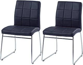 Modern Dining Chairs Set of 2,Dining Room Chairs with Faux Leather Padded Seat Back in Checkered Pattern and Sled Chrome Legs, Kitchen Side Chairs for Dining Room,Kitchen, Living Room,Black