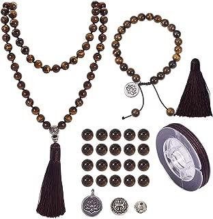 SUNNYCLUE 1 Set 108 Tiger Eye Gemstone Mala Beads/Buddha Beaded Necklace Jewelry Making Kit - DIY Make 1 Hand Knotted Prayer Tassel Pendant Necklace and 1 Adjustable Mala Wrap Beaded Bracelet