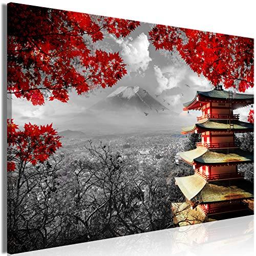 murando Cuadro Japon 120x80 cm impresión en Material Tejido no Tejido impresión artística fotografía Imagen gráfica decoración de Pared Paisaje Blanco Negro Rojo Natur c-C-0240-b-a