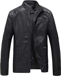 Men Winter Plus Size Zip Jacket Thickening Coat Retro Leather Outwear