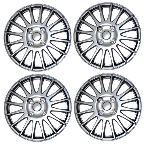 Tuningpros WC3-15-611-S - Pack of 4 Hubcaps - 15-Inches Style Snap-On (Pop-On) Type Metallic Silver Wheel Covers Hub-caps