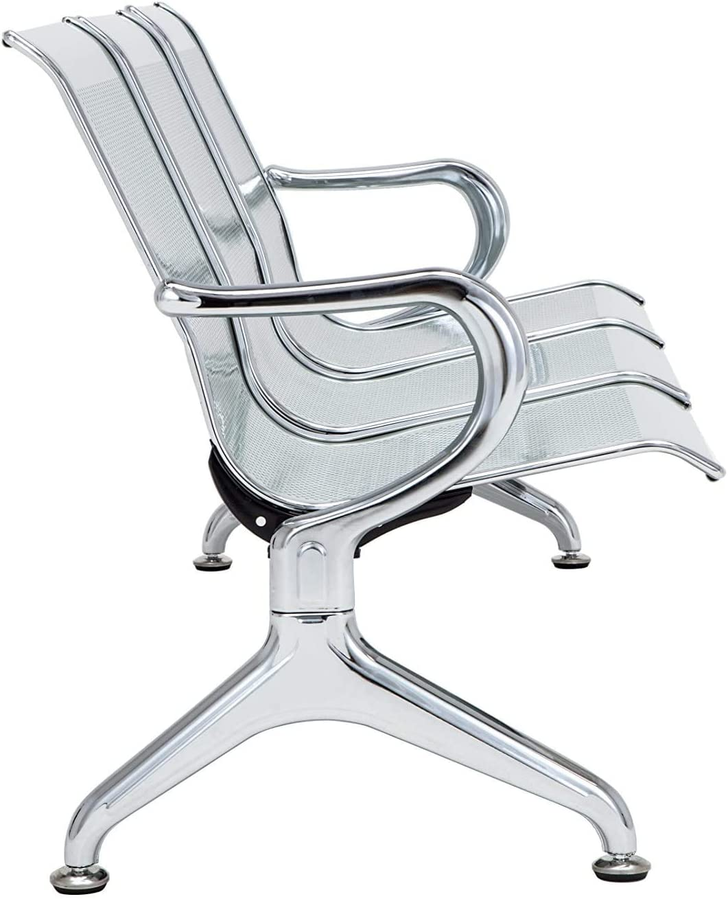 Silverylake Office Chair Guest Reception Chairs for Airport Waiting Room Chairs Salon Barber Bank Hall Room Conference Airport with Black Leather Cushion 3 Seat Bench Furniture