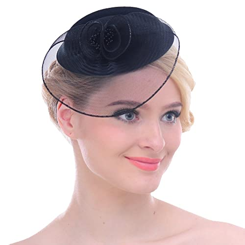 f81d47e8 FAYBOX Fascinators Sinamay Hats for Women for Tea Party Kentucky Derby  Wedding Cocktail Mesh Feathers Hair