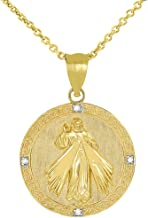 Fine 14k Gold Round Divine Mercy Of Jesus Medal Diamond Pendant Necklace