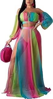 Womens 2 Piece Dress Sexy Off Shoulder Strapless Crop Top See Through Side Split Maxi Skirt Set