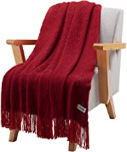LANGRIA Soft Comfortable Knitted Throw Blanket with Tassels Attractive Wavy Pattern Warm and Lightweight for Sofa Coach Bed at Home and Outdoor Machine Washable Eco-Friendly (50x60-Inch, Wine)