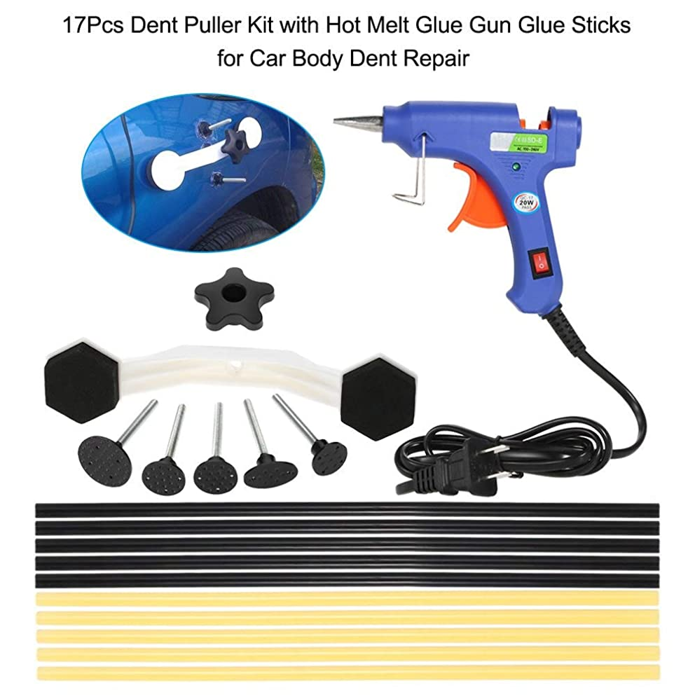 Udele-Store - 17Pcs Dent Puller Kit with Melt Glue Gun Glue Sticks for Car Body Dent Repair
