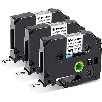 5 Schriftbänder kompatibel zu Brother P-Touch TZE-222 8m//9mm Rot auf Weiß