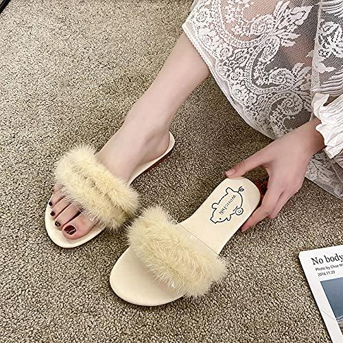 """Zapatillas De Casa para Mujer Cerradas,Zapatillas Peludas, Ropa De Verano Femenina Estilo De Hadas Super Fire Plano Apartamento Bottom Beach Beach Slippers En 2021-Ue 38 (24cm / 9.45"""")_be"""
