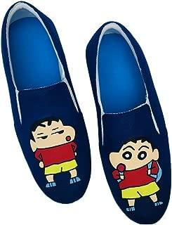 FUNKY N TRENDY Shin Chan Hand Painted Navy Blue Waterproof Men's Canvas Shoes