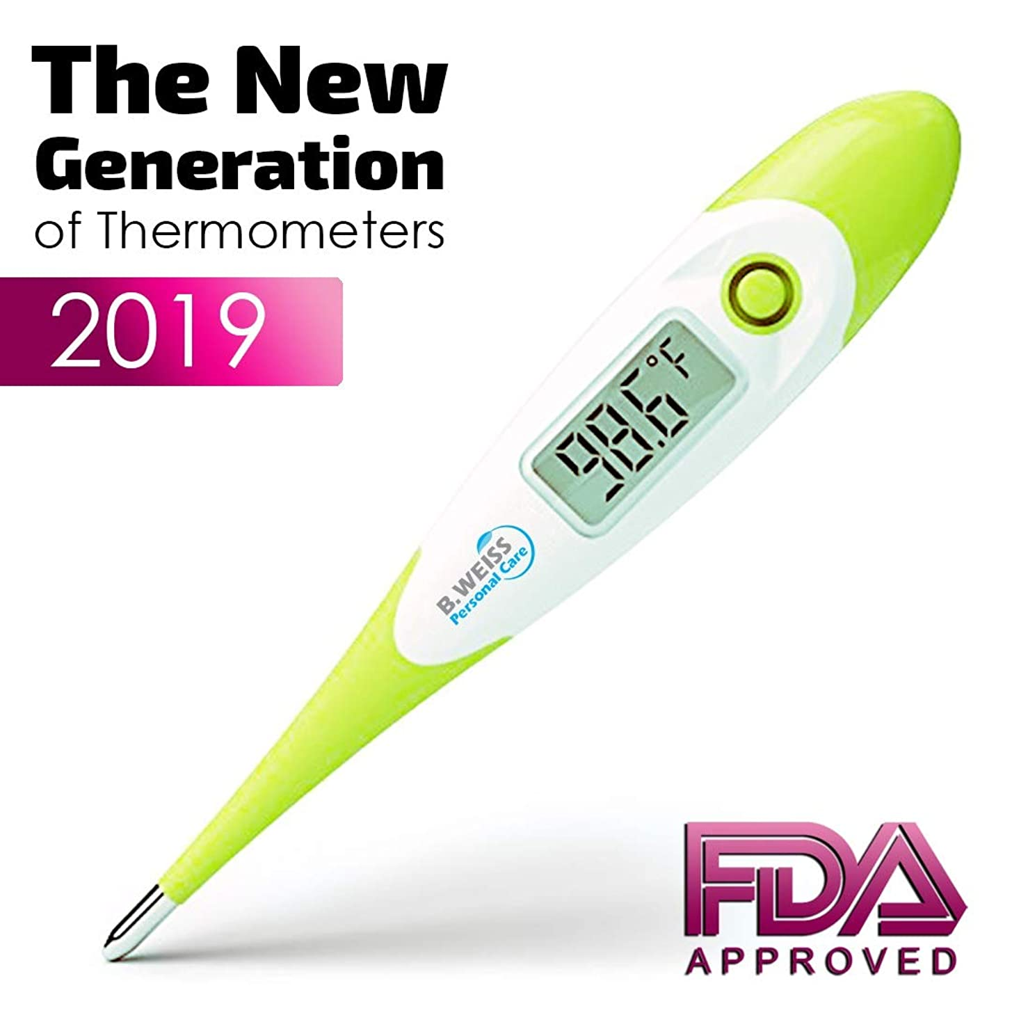 [2019] Best Digital Medical Thermometer Designed for Babies with Flexible tip by B. WEISS (Baby Adult and Toddler Termometro) Clinical Professional Oral Rect …