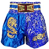 Kurop Boxing Muay Thai Shorts Trunks MMA Martial Arts Kickboxing Fight Sport Clothing (Dragon Blue, XXL)