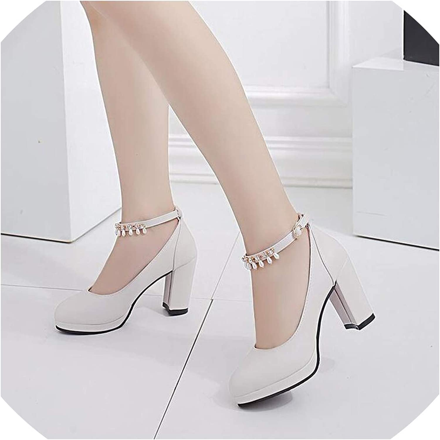 Women shoes Round Toe Pumps Pu Leather Leisure Dress Party shoes High Heels Boat Wedding shoes