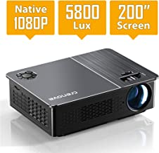 "Native 1080P Projector, Crenova HD Video Projector, 5800 Lux LED Movie Projector with 200"" Display, Compatible with TV Stick, HDMI, VGA, USB, iPad, PC, Xbox, iPhone for Home Entertainment"