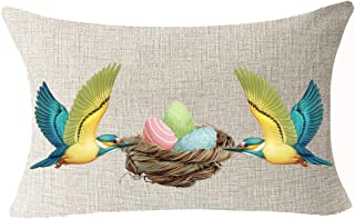 Best Spring Gift Happy Easter Greetings Color Eggs Bird's Nest Showcase Basket Magpie Sturdy Cotton Linen Waist Lumbar Pil...