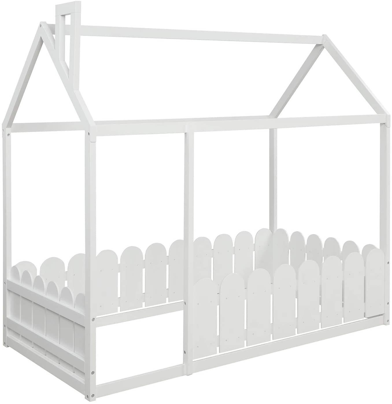 Wood House Bed Kids Cabin overseas Frame Fence Princess Roof with and Industry No. 1