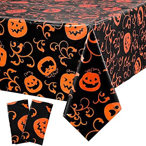 Tovaglia di Halloween con motivo zucca stampata, tovaglia rettangolare in plastica, per feste di Halloween e casa, decorazione per tavolo da pranzo, lavabile e riutilizzabile (150 x 200 cm)