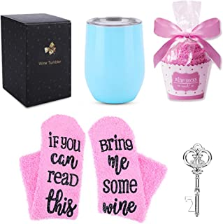 12 oz Stainless Steel Wine Tumbler with Cupcake Wine Socks& Gift Box, Double Insulated Stemless Wine Glass Travel Tumbler Cup with Lid, Bottle Opener, Perfect Gift for Women Girls Mom (Light Blue)