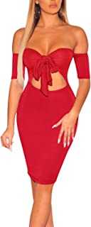 Sexy Off Shoulder Bodycon Dresses - Short Sleeve Hollow Out Cocktail Pencil Mini Dress