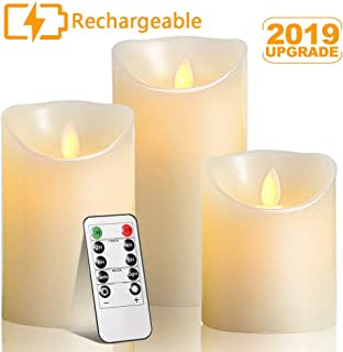 Rechargeable Flameless Candles,Autbye Flameless Votive Candles Tealights Pillar Candles Sets with Adjustable Brightness and Timing Remote, 4in 5in 6in Pack of 3