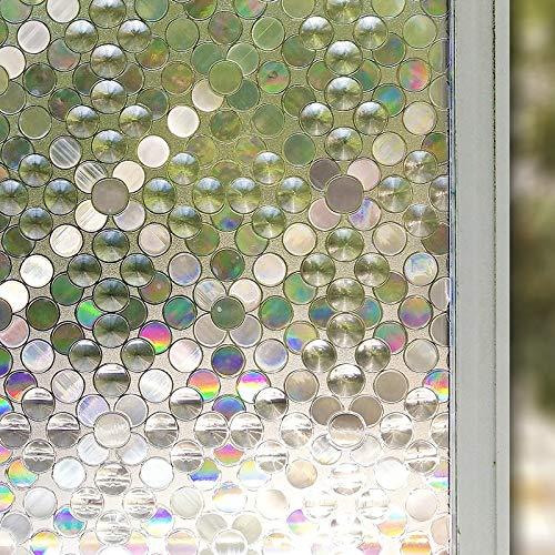 LMKJ 3D gemalte Blase Fensterfolie undurchsichtige Sichtschutzfolie, Wiederverwendbare Badezimmer Büro Home Glasdekoration Folie A6 60x100cm