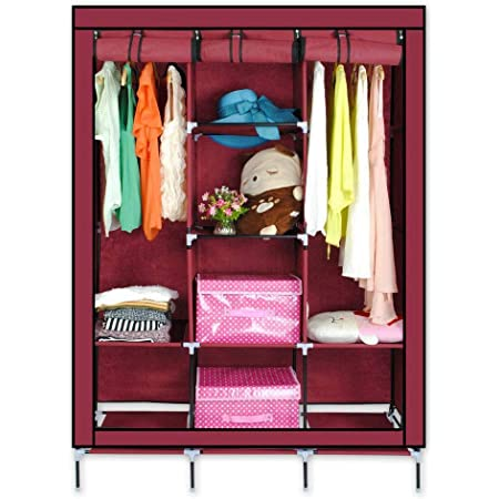 Smart Saver 8 Shelf Closet Organizer Wardrobe Closet Portable Closet Shelves, Closet Storage Organizer Cabinet with Non-Woven Fabric, Quick and Easy to Assemble, Extra Strong and Durable- Wine