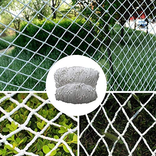 JJSW Safety Net Retro Hemp Rope, Stairs Fence Photo Wall Hanging Clothes Net Decoration Bar Retro Ceiling Shed Divider Mesh of Various Sizes, White (Size : 4×4m)