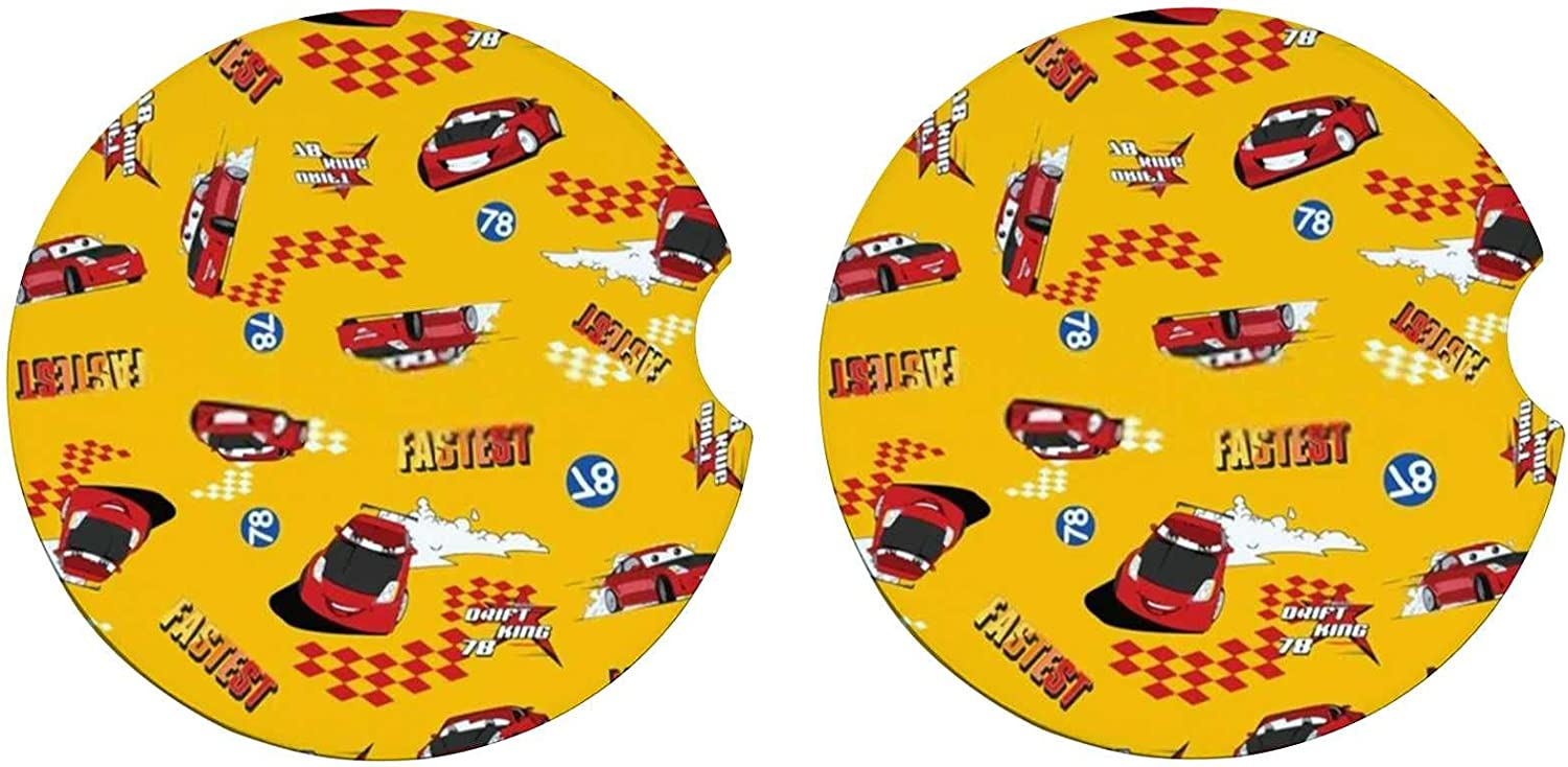 Kuizee Car Coasters 2 ! Super beauty product restock quality top! Pack Red Yellow Cartoon High order Boy Removable