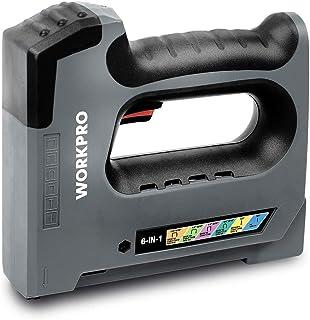 WORKPRO 3.6V 充電式タッカー バッテリータッカー ホッチキス 強力 コードレス コ型 U型 I型 3種類の替針対応可能 木工用 壁紙 革シート補修 ケーブル固定 DIY ロック機能 充電器付