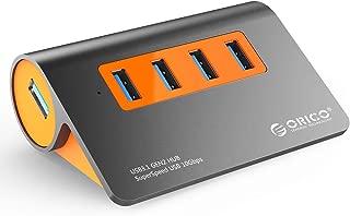 ORICO USB3.1ハブ Gen2 4ポート USBハブ 10Gbps高速転送 1mUSBケーブル付 12V2.5A 電源アダプター付き OTG機能対応 高放熱 アルミ M3H4-G2