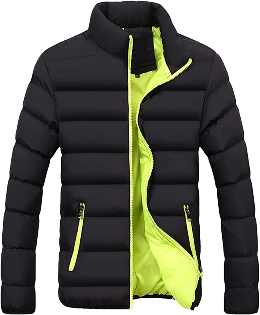 S&S-Men Warm Winter Candy Colors Contrast Lining Thicken Warm Puffer Compressible Jackets (X-Large, Green)