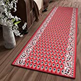 Tapiso Bali Alfombra de Pasillo Entrada Cocina Escalera Diseño Tradicional Rojo Blanco Decorativo Ornamentales 100 x 780 cm