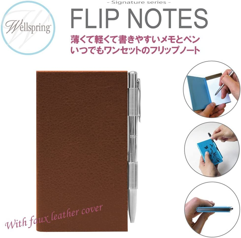 Brown Design Brand New Wellspring Flip Note Book Pad With Pen Gift Pocket Size