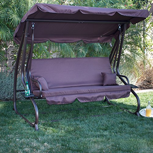 BELLEZE Porch Swing Bed Cushioned Adjustable UV Resistant Sunlight Protection Backrest Soft Polyester Flatbed Dark Brown