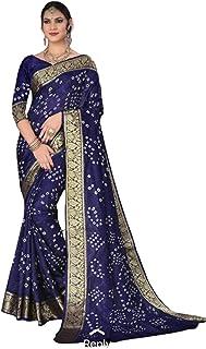 Indian Woman blue Bandhej Art Silk Zari weaving Festival Bandhani Printed Saree Blouse Sari 6317