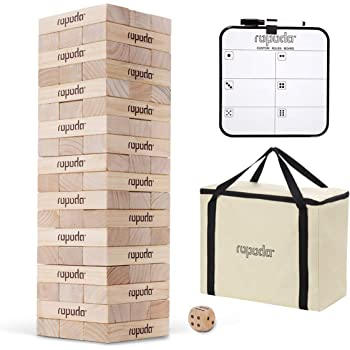 ROPODA Toppling Tower - Giant Tumbling Timbers Game |2.5 feet Tall, Grows to Over 5.5 feet |Made of Premium Pinewood|for Adult, Kids, Family Outdoor/Indoor Fun.