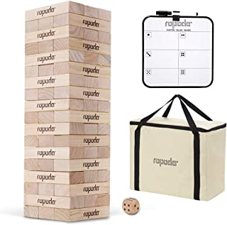 ROPODA Toppling Tower - Giant Tumbling Timbers Game |2.4 feet Tall, Build to Over 5.5 feet |Made from Premium Pine Blocks|for Adult, Kids, Family Outdoor Fun.