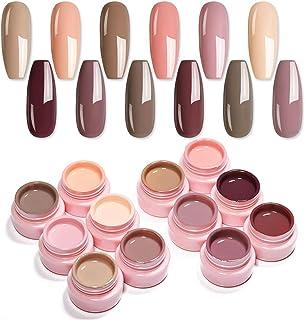 UR SUGAR 5ml Esmaltes Semipermanentes Kit Uñas de Gel Kit Completo Color Desnudo con Gratis 3pcs Liner Brush Pintauñas Per...